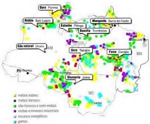 Mapa dos recursos minerais da Amazonia