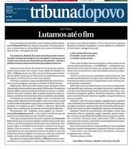 Editorial da última edição da Tribunal do Povo