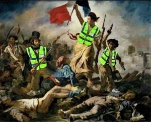 """""""A liberdade guiando o Povo"""" de Eugène Delacroix, repaginada pelos """"coletes amarelos"""""""